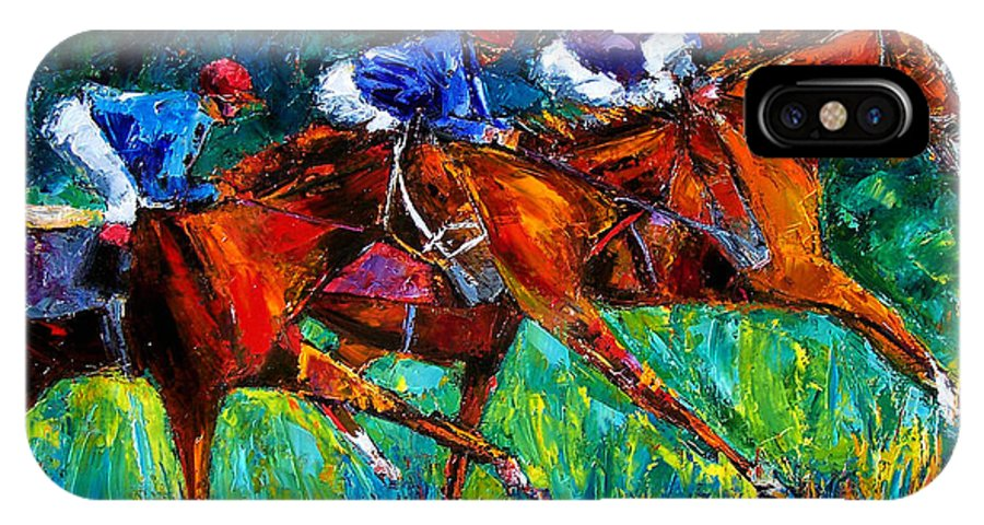 Horse Race IPhone X Case featuring the painting Full Speed by Debra Hurd