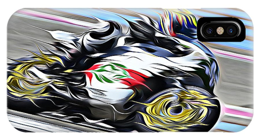 Motorcycle IPhone X Case featuring the digital art Fullspeed On Two Wheels 7 by Jean-Louis Glineur alias DeVerviers