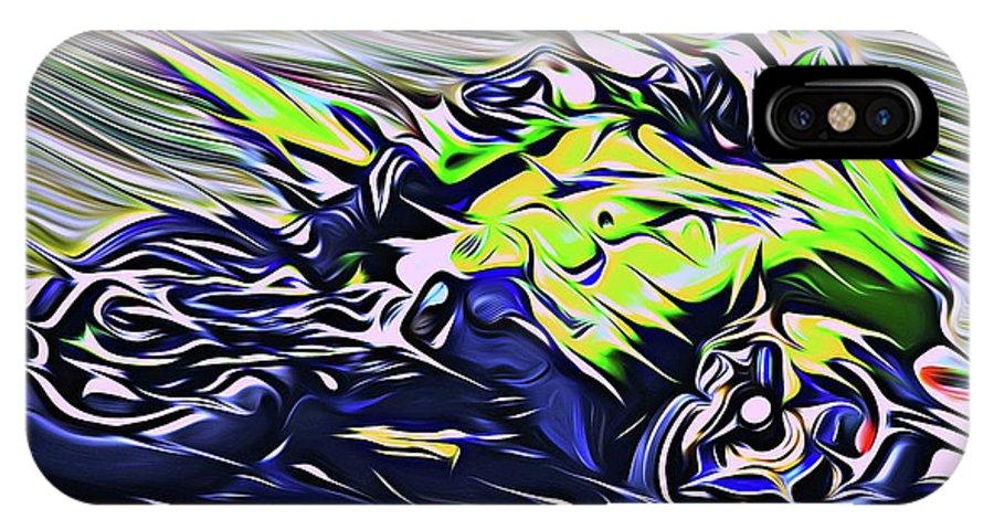 Motorcycle IPhone X Case featuring the digital art Fullspeed On Two Wheels 8 by Jean-Louis Glineur alias DeVerviers