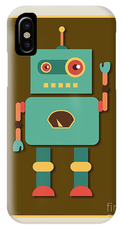 Retro IPhone X Case featuring the digital art Fun Retro Robot by Alondra Hanley
