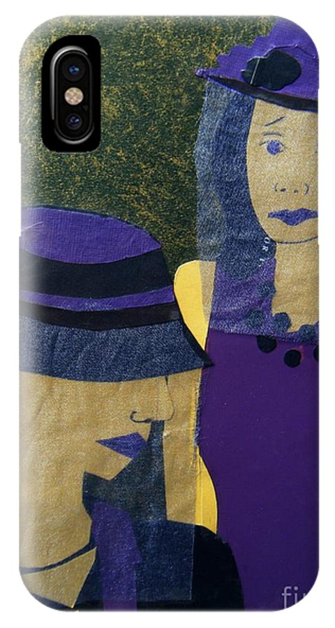 Purple IPhone Case featuring the mixed media Funeral Masks by Debra Bretton Robinson