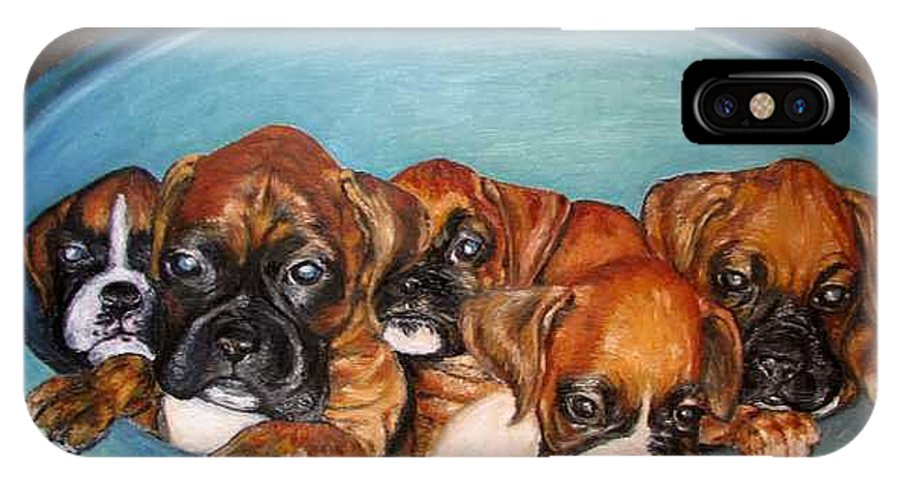 Oil IPhone X Case featuring the painting Funny Puppies Orginal Oil Painting by Natalja Picugina