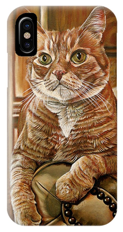 Cat IPhone Case featuring the painting Furby by Cara Bevan