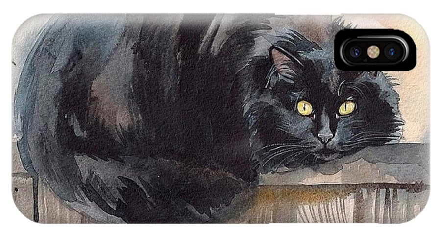 Back Cat IPhone X Case featuring the painting Fuzzy Black Cat by Yuliya Podlinnova