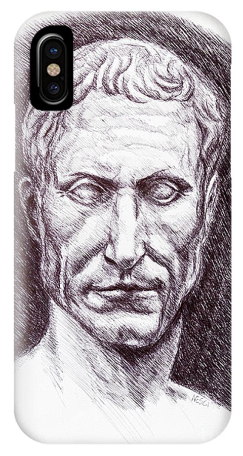 Portrait IPhone X Case featuring the drawing Gaius Julius Caesar by Alessandro Nesci
