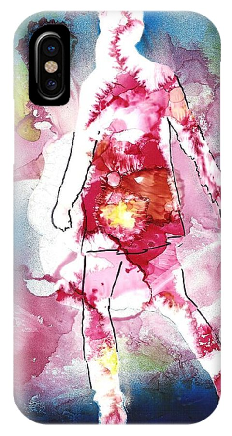 Abstract IPhone Case featuring the mixed media Galaxy Girl by Susan Kubes