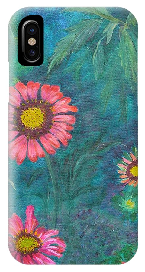 Garden IPhone X Case featuring the painting Gallardia by Peggy King