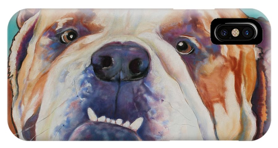 Pat Saunders-white Pet Portraits IPhone X Case featuring the painting Game Face  by Pat Saunders-White