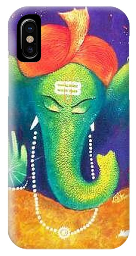 IPhone X Case featuring the painting Ganesha 9 by Sanjay Punekar