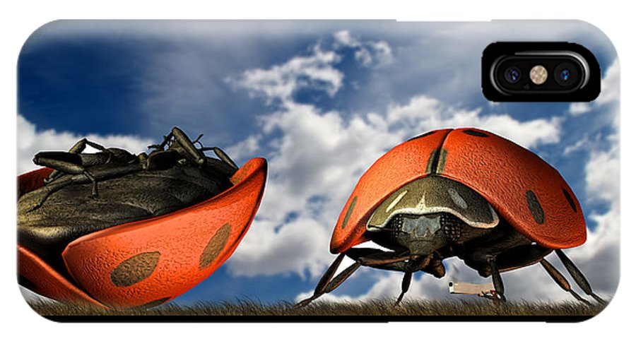 Ladybug IPhone X Case featuring the digital art Gangster Ladybugs Nature Gone Mad by Bob Orsillo