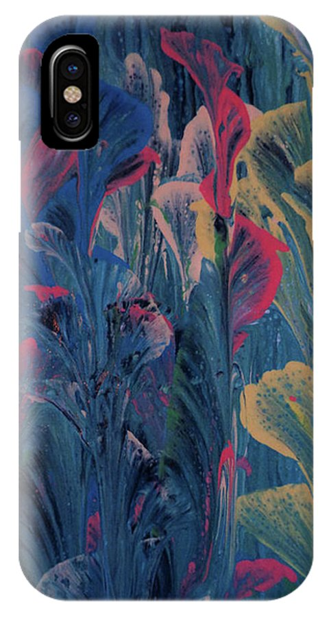 Acrylic IPhone X Case featuring the painting Garden At Dusk by Diana Robbins