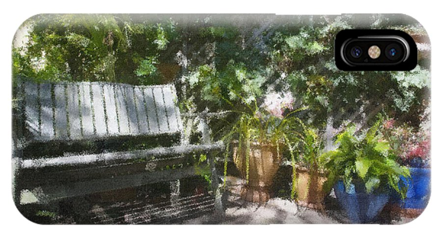 Garden Bench Flowers Impressionism IPhone X Case featuring the photograph Garden bench by Sheila Smart Fine Art Photography