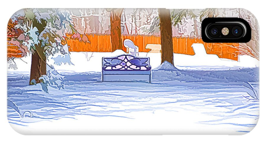 Winter IPhone X / XS Case featuring the painting Garden Bench With Snow by Jeelan Clark