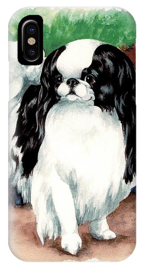 Japanese Chin IPhone X Case featuring the painting Garden Chin by Kathleen Sepulveda
