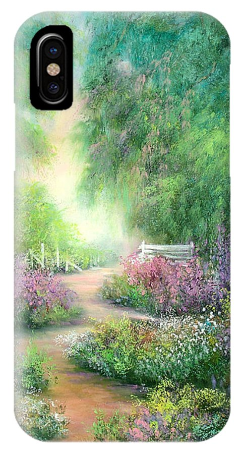 Gardens IPhone X Case featuring the painting Garden Dreams by Sally Seago