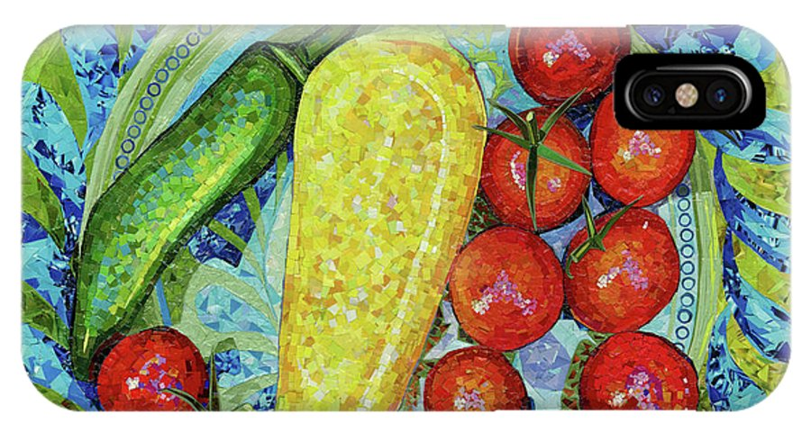 Collage IPhone X / XS Case featuring the mixed media Garden Harvest by Shawna Rowe