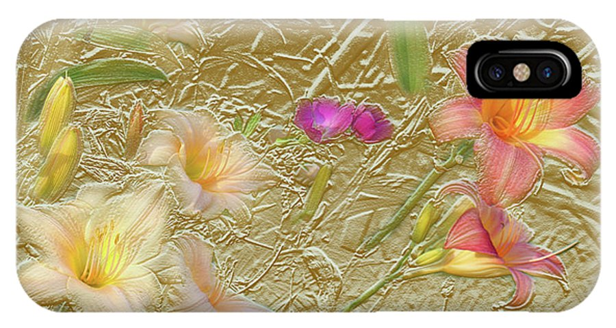 Garden IPhone X Case featuring the mixed media Garden in Gold Leaf2 by Steve Karol