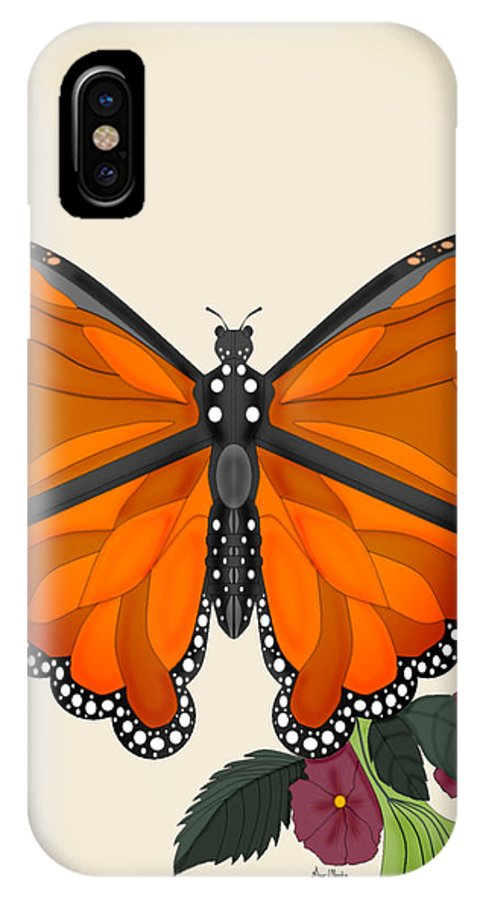 Butterfly IPhone X Case featuring the painting Garden Jewelry by Anne Norskog
