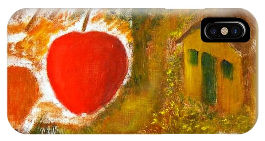 Abstract Apple Adam Ave IPhone X Case featuring the painting Garden Of Eden by R B