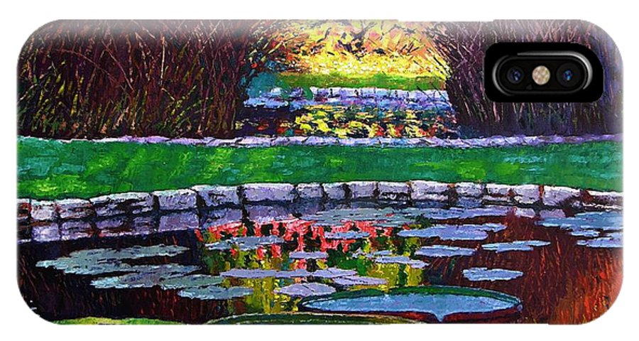 Garden Ponds IPhone Case featuring the painting Garden Ponds - Tower Grove Park by John Lautermilch