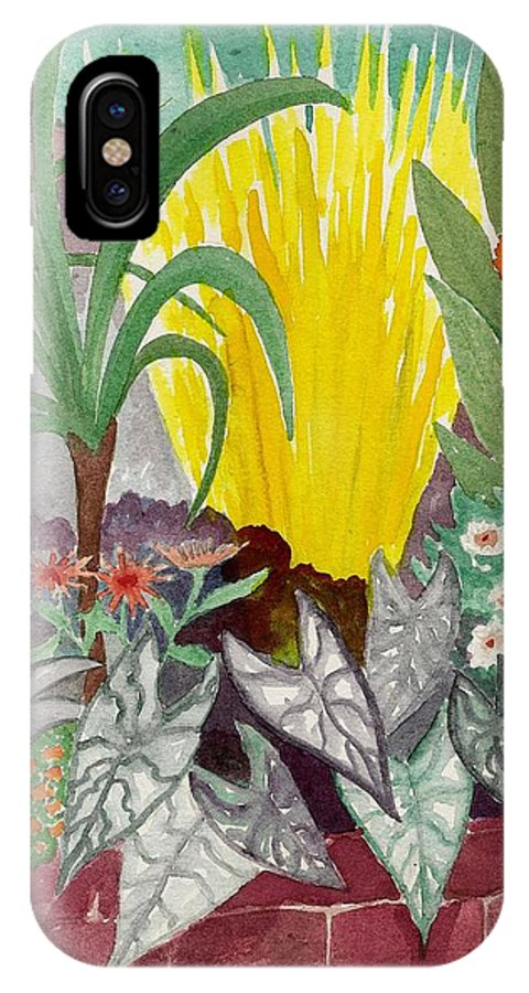 Garden Scene IPhone X Case featuring the painting Garden Scene Sep.2010 by Fred Jinkins