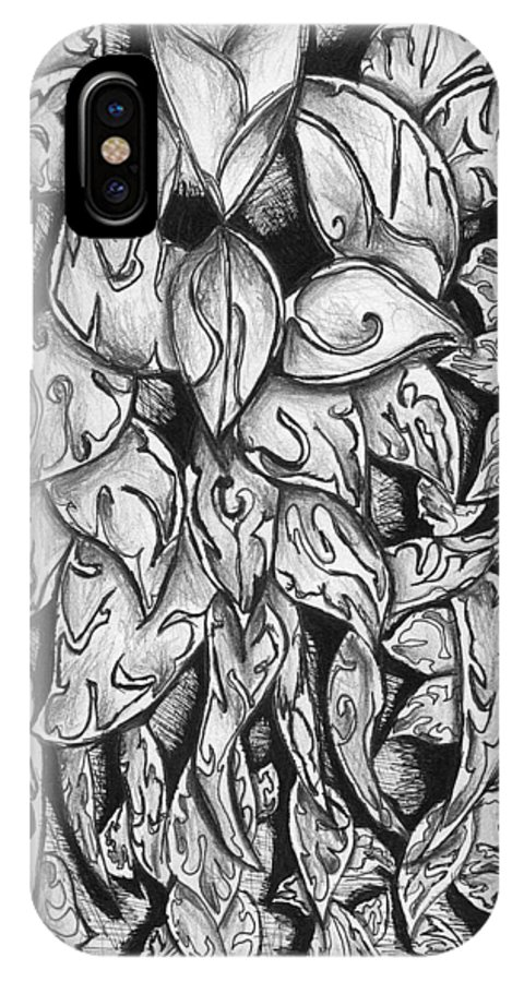 Leaves IPhone Case featuring the drawing Gardena 1 by Crystal Webb