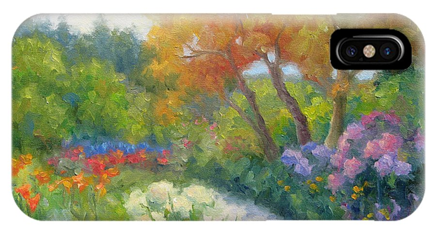 Garden IPhone X Case featuring the painting Garden's Allure by Bunny Oliver