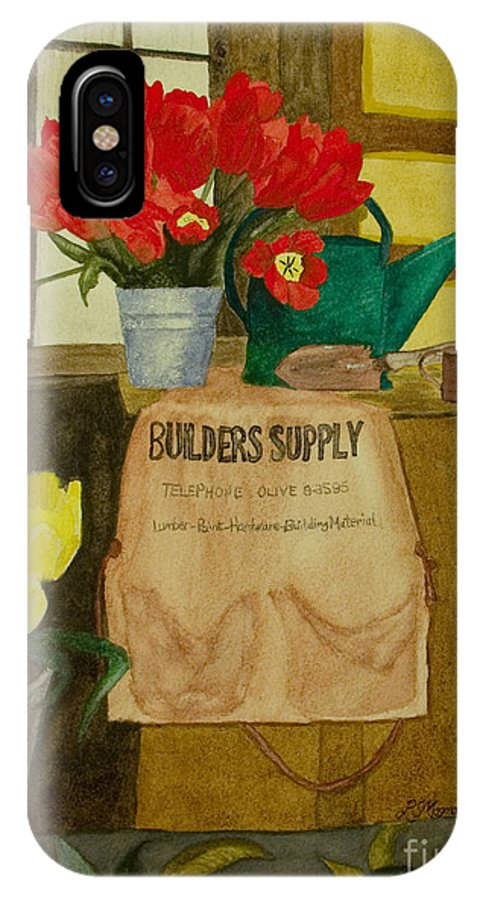 Tulips IPhone X Case featuring the painting Gardner by Louise Magno
