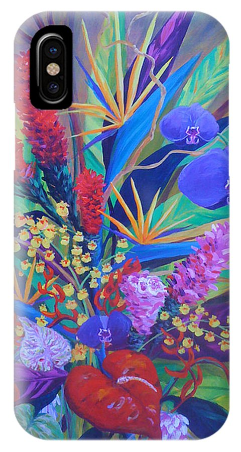 Anthuriums IPhone X Case featuring the painting Gardner Tropicals by Anne Marie Brown