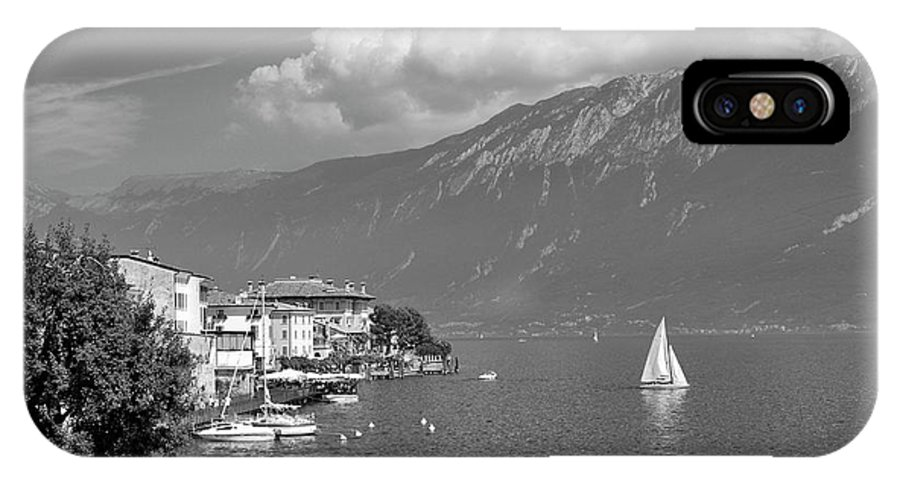 Lake IPhone X Case featuring the photograph Gargnano On Lake Garda, Italy.  Black And White by David Lyons