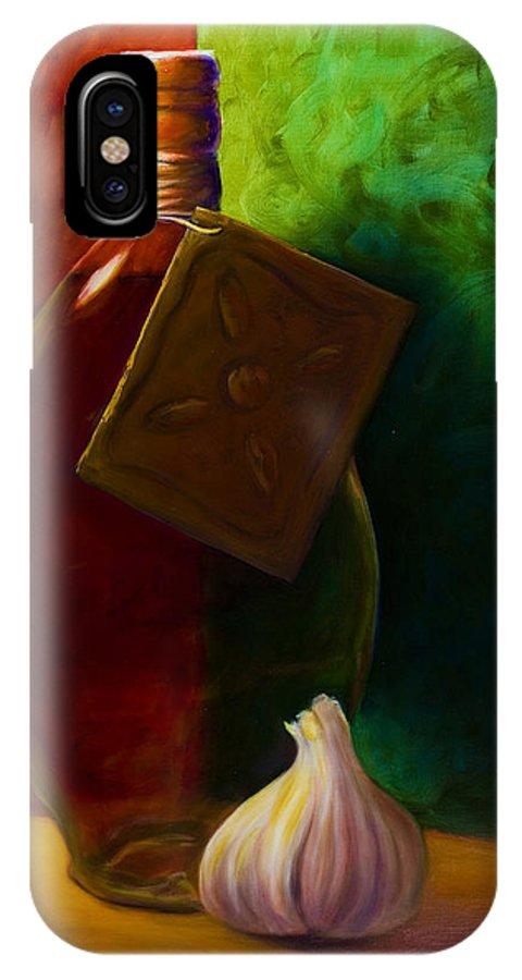 Shannon Grissom IPhone X Case featuring the painting Garlic And Oil by Shannon Grissom