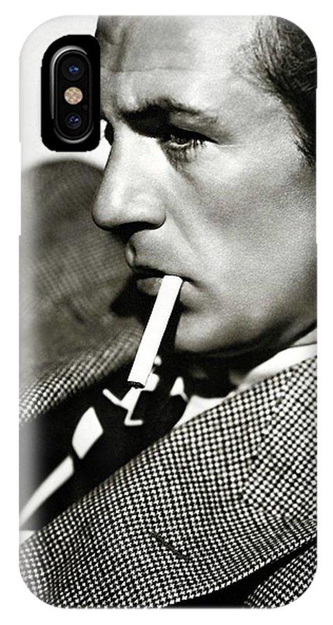 Gary Cooper Smoking C.1935 IPhone X Case featuring the photograph Gary Cooper Smoking C.1935 by David Lee Guss