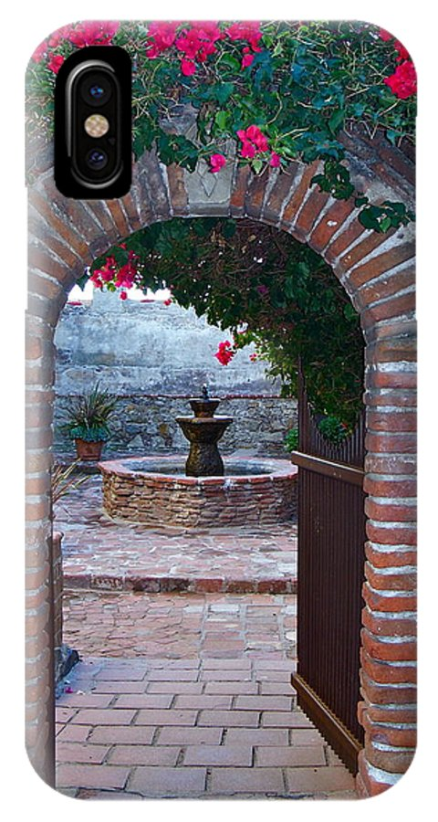Gate IPhone X Case featuring the photograph Gate To The Sacred Garden And Bell Wall Mission San Juan Capistrano California by Karon Melillo DeVega