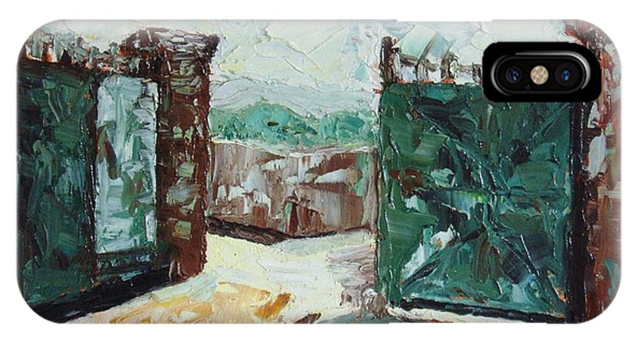 Gate Oil Canvas IPhone X Case featuring the painting Gate2 by Seon-Jeong Kim