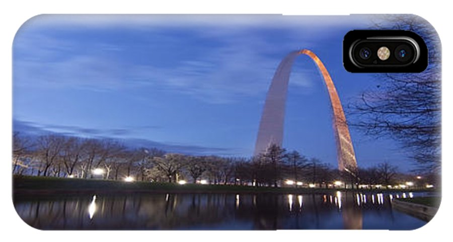 Gateway Arch IPhone X Case featuring the photograph Gateway Arch At Dawn Panoramic by Sven Brogren