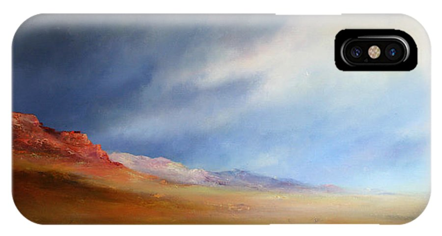 Landscape IPhone X Case featuring the painting Gathering Thunderstorm by Petra Ackermann