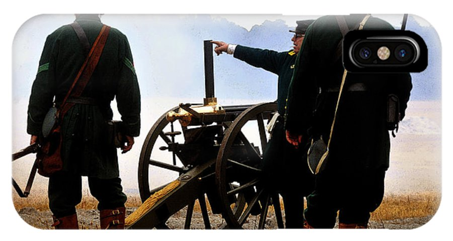Gatling Gun IPhone X Case featuring the painting Gatling Gun On The Battle Field by David Lee Thompson