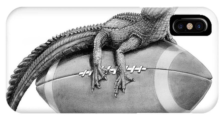 Gator IPhone X / XS Case featuring the drawing Gator Football by Murphy Elliott