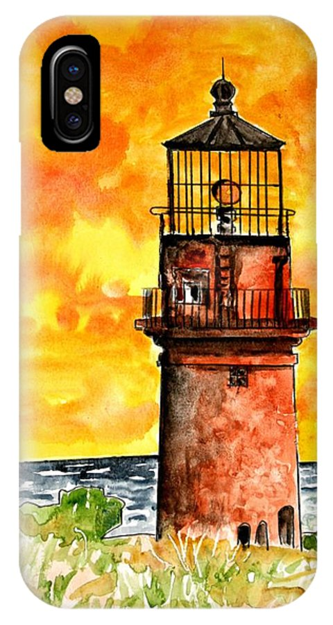 Beach IPhone X / XS Case featuring the painting Gay Head Lighthouse Martha's Vineyard by Derek Mccrea