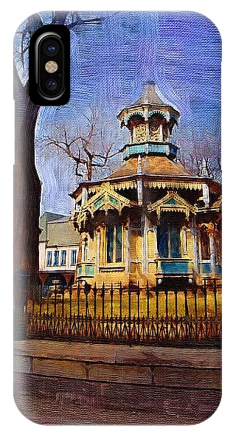 Architecture IPhone Case featuring the digital art Gazebo And Tree by Anita Burgermeister