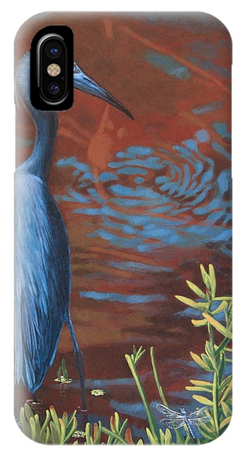 Painting IPhone X Case featuring the painting Gazing Intently by Peter Muzyka