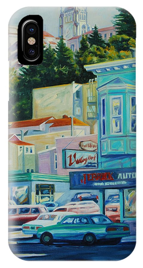 Cityscape IPhone Case featuring the painting Geary Street by Rick Nederlof