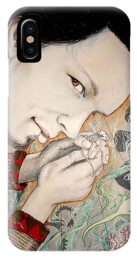 Gecko IPhone Case featuring the drawing Gecko by Freja Friborg