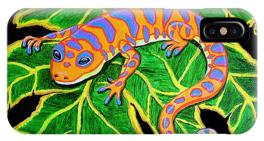 Gecko IPhone X Case featuring the painting Gecko Hanging On by Nick Gustafson