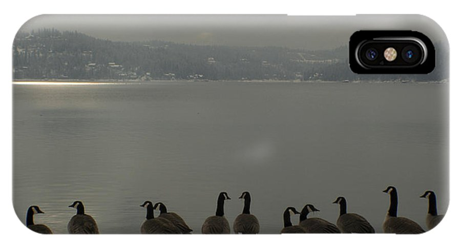 Geese IPhone X Case featuring the photograph Geese On The Edge by Idaho Scenic Images Linda Lantzy