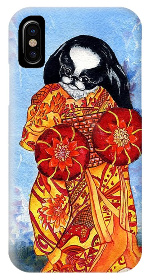 Japanese Chin IPhone X Case featuring the painting Geisha Chin by Kathleen Sepulveda