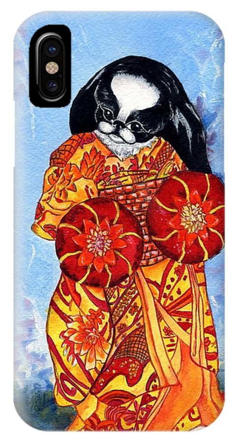 Japanese Chin IPhone X / XS Case featuring the painting Geisha Chin by Kathleen Sepulveda