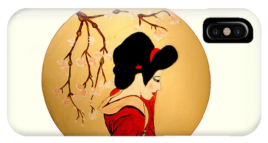 Geisha Girls IPhone X Case featuring the painting Geisha Girl by Rusty Gladdish