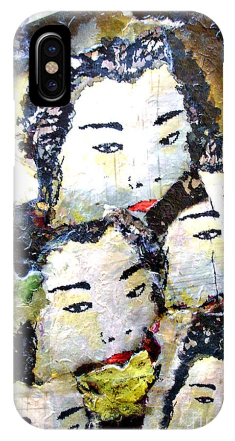 Geisha Girls IPhone Case featuring the mixed media Geisha Girls by Shelley Jones