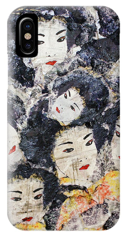 Geisha IPhone X Case featuring the mixed media Geisha by Shelley Jones
